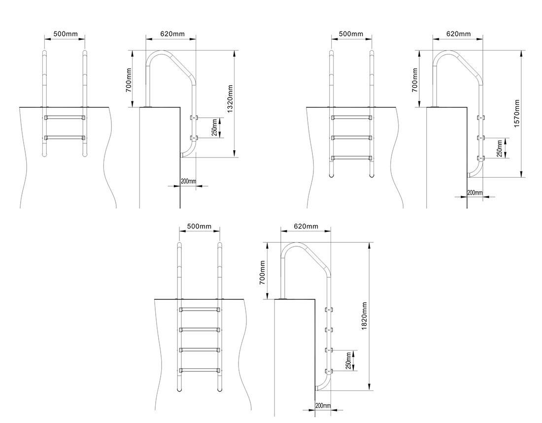 echelle piscine inox standard. Black Bedroom Furniture Sets. Home Design Ideas