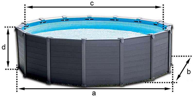 Piscine tubulaire ronde intex graphite 4 78 x h1 24m for Piscine graphite intex