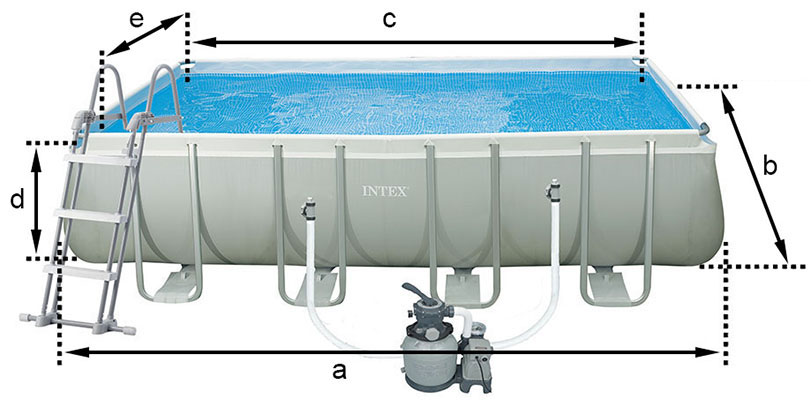 Piscine tubulaire intex ultra silver 7 32 x 3 66 x h1 32m for Dimension piscine