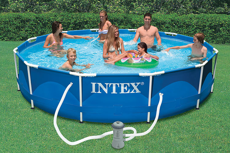 Piscine tubulaire intex ronde metal frame 3 66 x h0 76m for Piscine 3 boudins intex
