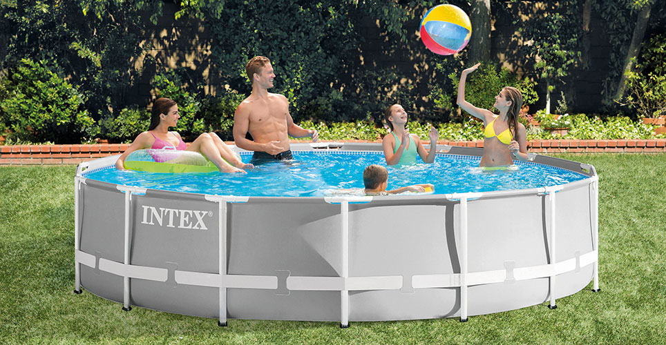 Piscine tubulaire intex ronde prism frame 4 57 x h1 07m for Piscine ronde intex