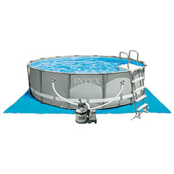 Piscine tubulaire intex ronde ultra frame 4 27 x h1 22m for Piscine hors sol ultra frame