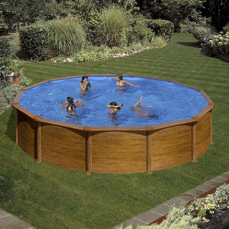 piscine acier gr aspect bois mauritius ronde dimension 3. Black Bedroom Furniture Sets. Home Design Ideas