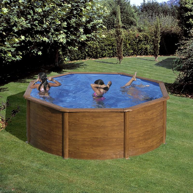 piscine acier gr aspect bois pacific ronde dimension 2 40. Black Bedroom Furniture Sets. Home Design Ideas