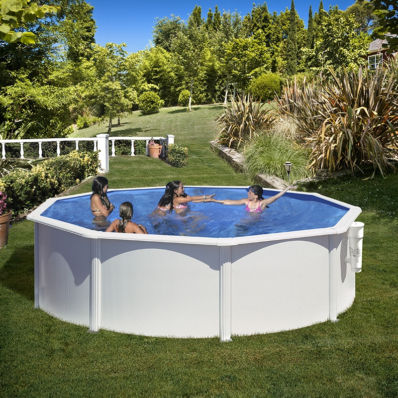Piscine acier gr azores ronde for Piscines autoportees