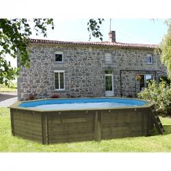 Piscine bois Cannelle 5,51 x 3,51 x h1,19m liner bleu