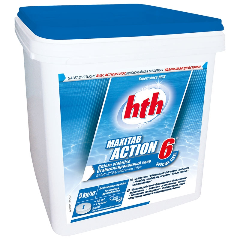 HTH Maxitab action 6 spécial liner - chlore lent multiactions 5 kg