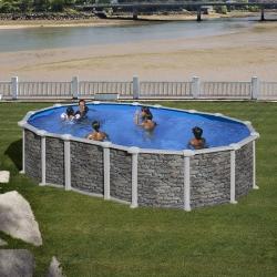 Piscine acier Gré aspect pierre Santorini ovale