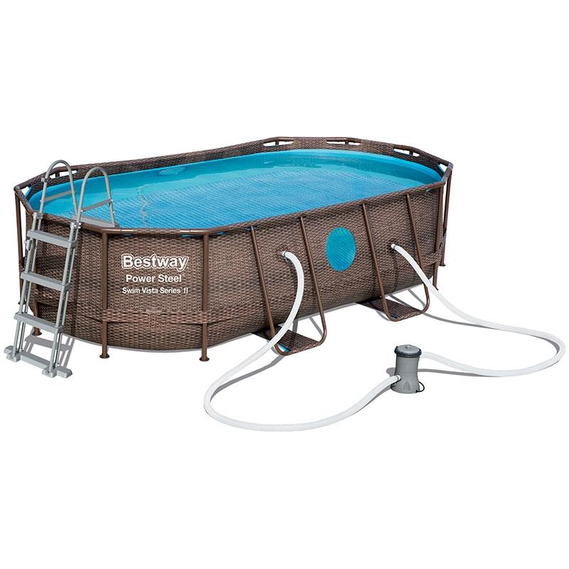 Piscine bestway ovale power steel swim vista 4 27 x 2 50 for Best way piscine