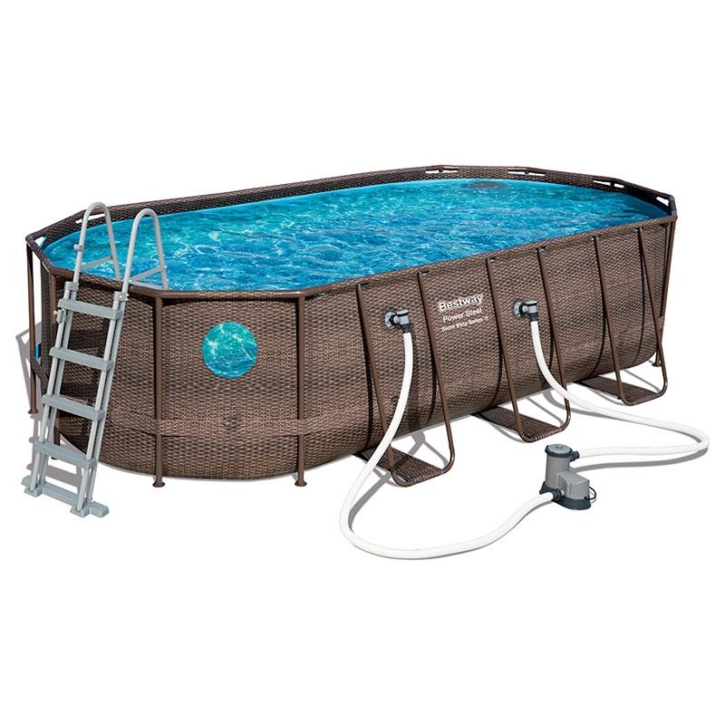 Piscine bestway ovale power steel swim vista 5 49 x 2 74 h for Best way piscine