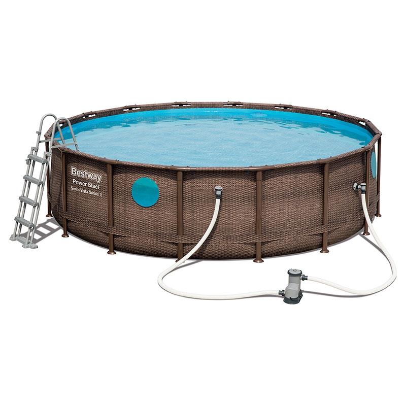 Piscine bestway power steel swim vista pool ronde 4 88 x for Best way piscine