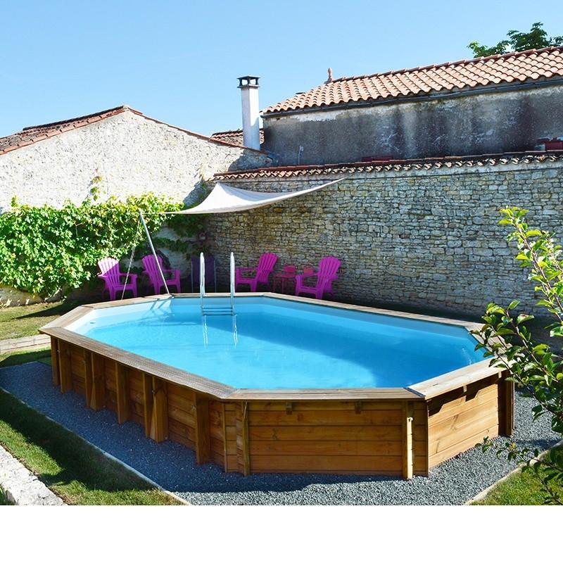 Piscine bois lavender 5 70 x 3 95 x h1 27m - Escalier bois pour piscine hors sol ...