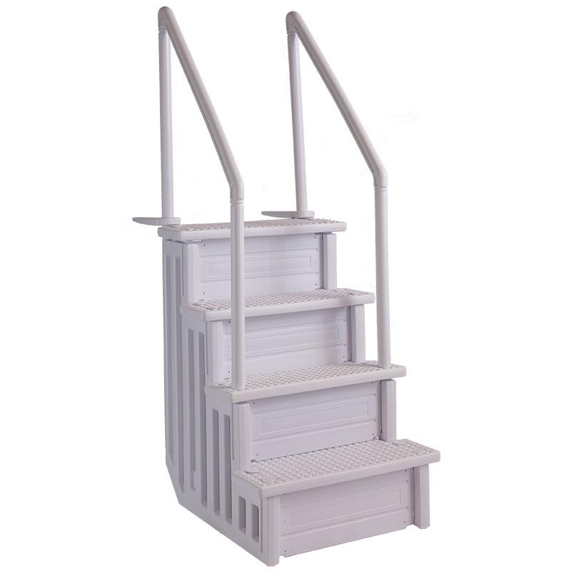 Escalier pour piscine ajustable avec lest inclus - Escalier bois pour piscine hors sol ...