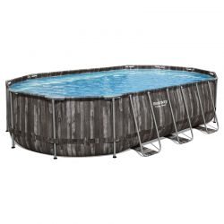 Piscine Bestway Ovale Power Steel Décor Bois 6,10 x 3,66 h1,22m