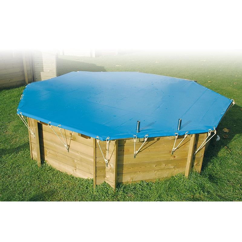 Bâche d'hivernage pour piscine bois Ubbink hexagonale