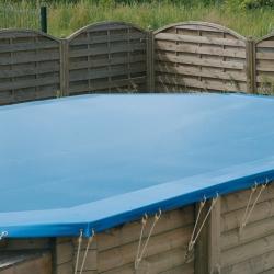 Bâche d'hivernage pour piscine bois Ubbink octogonale allongée