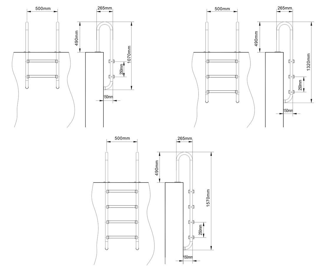 echelle piscine inox droite hauteur 2 marches. Black Bedroom Furniture Sets. Home Design Ideas