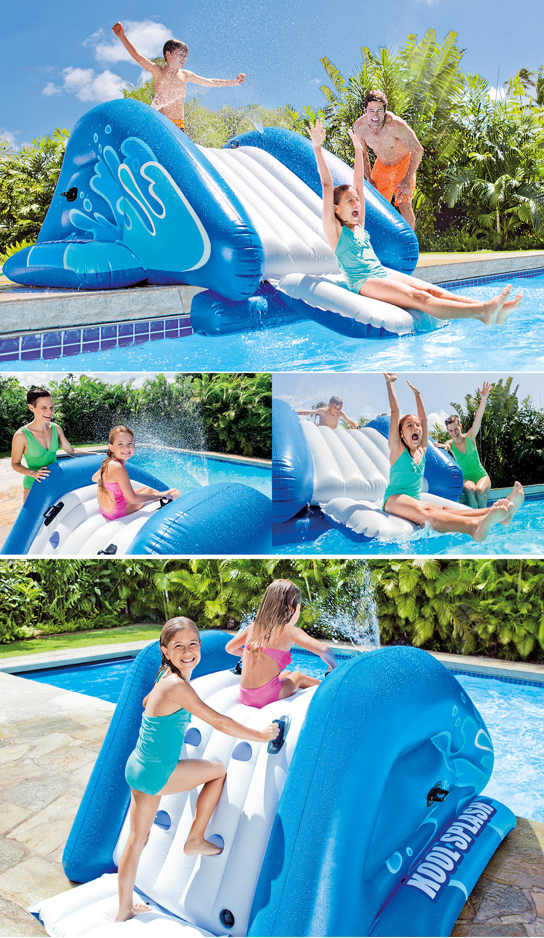 Toboggan gonflable pour piscine enterr e for Piscine plastique