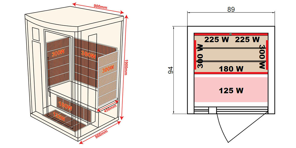Dimensions sauna Apollon 1 place