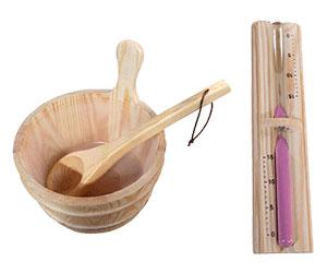 Seau, louche et thermomètre pour sauna vapeur