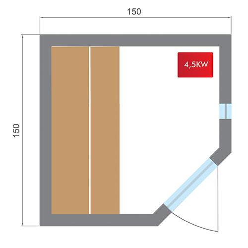 Dimensions sauna Zen 3-4 places