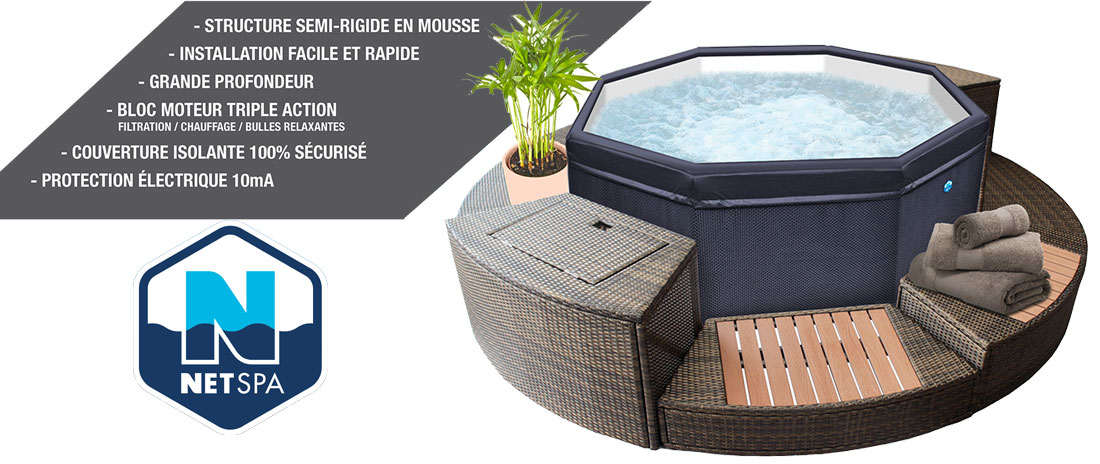 Spa NetSpa Octopus avec kit mobilier amovible complet
