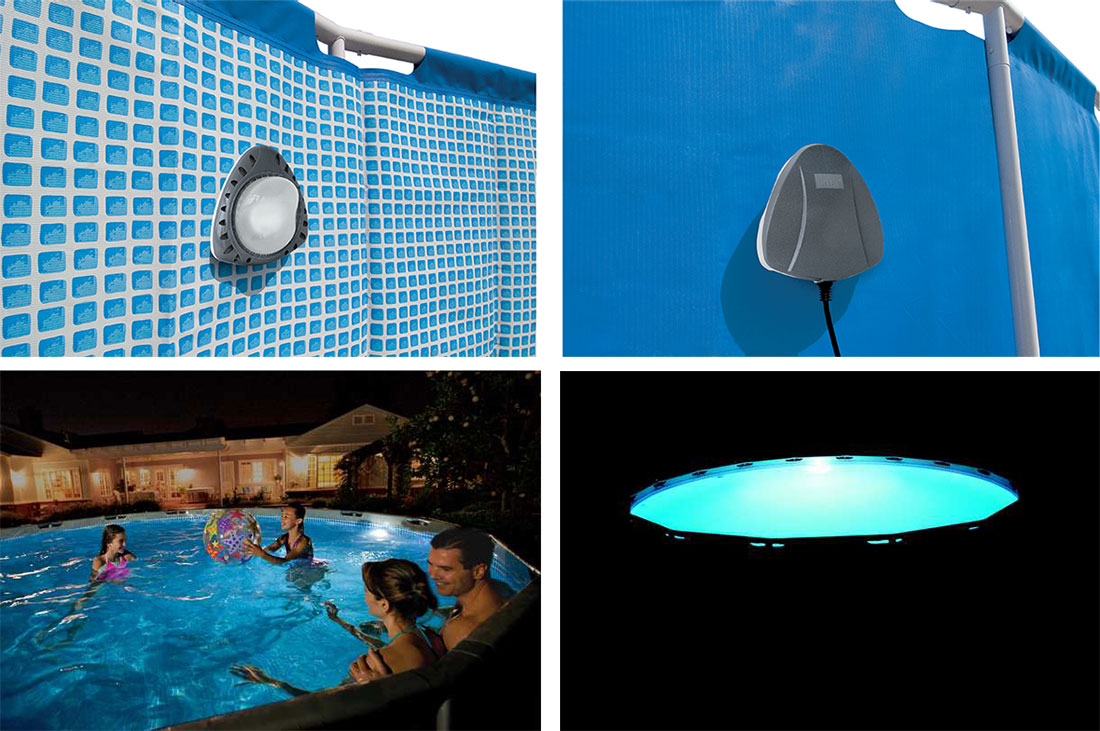 Projecteur intex led magnetique for Lampe piscine bois