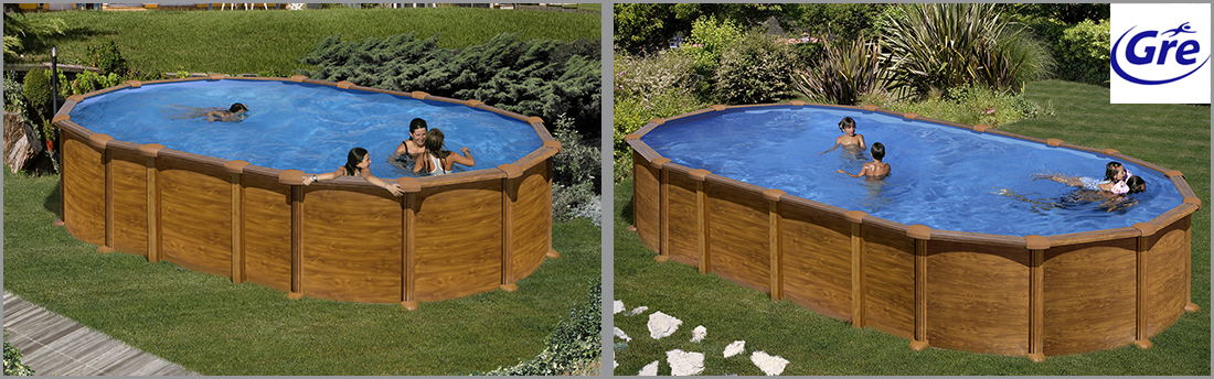 piscine acier gr aspect bois amazonia ovale. Black Bedroom Furniture Sets. Home Design Ideas