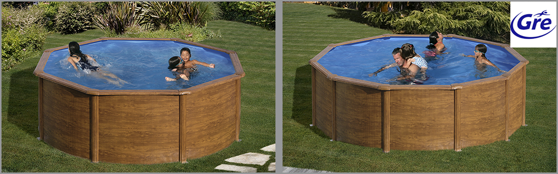 piscine acier gr aspect bois maldivas ronde. Black Bedroom Furniture Sets. Home Design Ideas