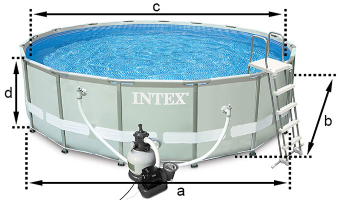Piscine tubulaire intex ronde ultra frame 4 88 x h1 22m for Dimension piscine