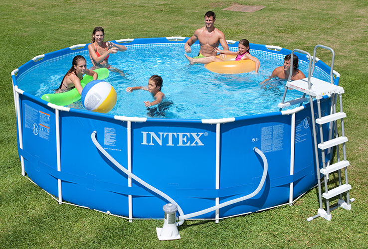 Piscine tubulaire intex ronde metal frame 4 57 x h1 22m for Bache piscine intex 4 57