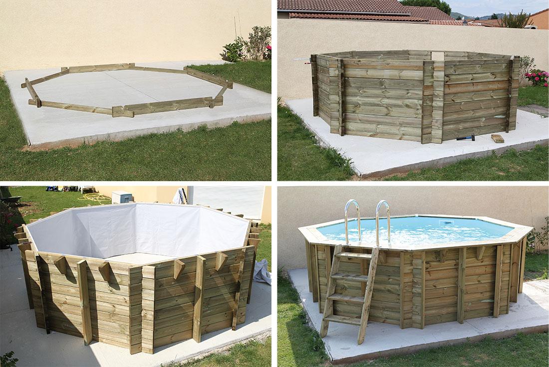 Piscine bois octogonale sunwater 3 60 x h1 20m ubbink for Piscine bois semi enterree octogonale