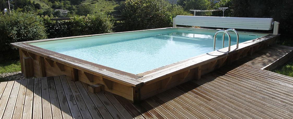 Piscine bois rectangulaire sunwater 5 55 x 3 00 x h1 40m for Piscine x water